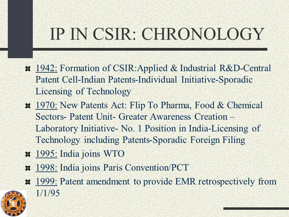 IP IN CSIR: CHRONOLOGY