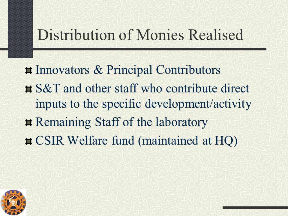 Distribution of Monies Realised