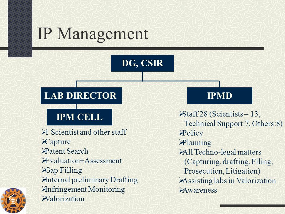 IP Management DG, CSIR LAB DIRECTOR IPMD IPM CELL