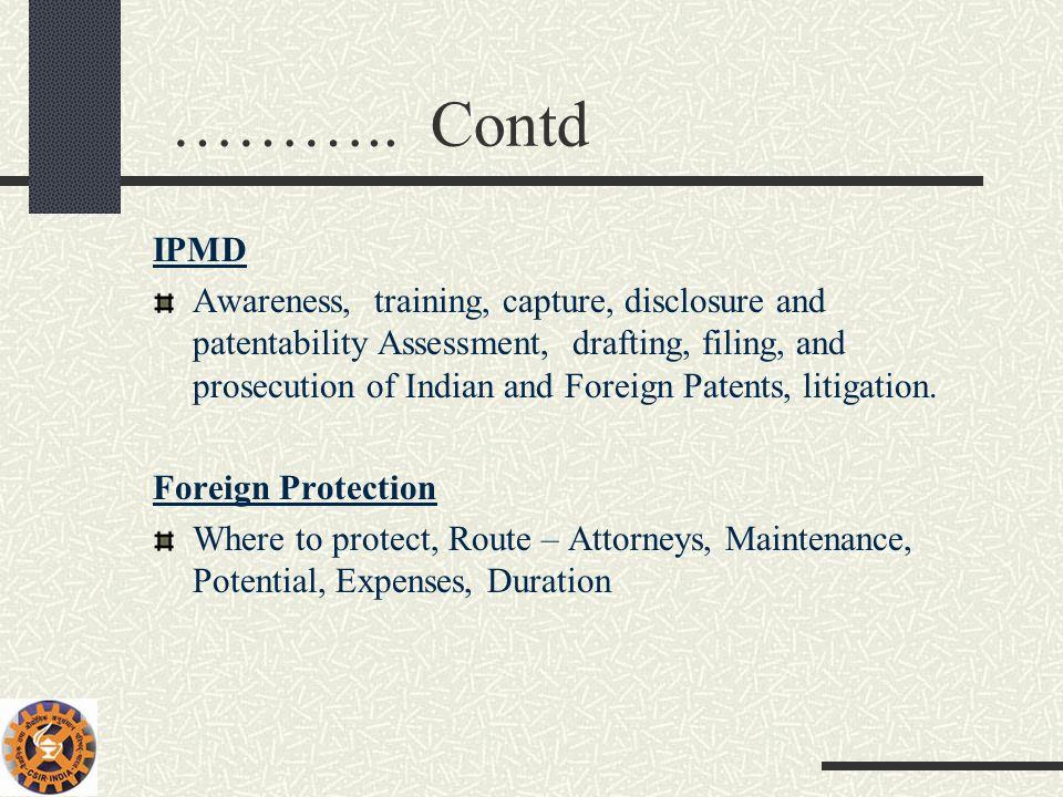 ……….. Contd IPMD.