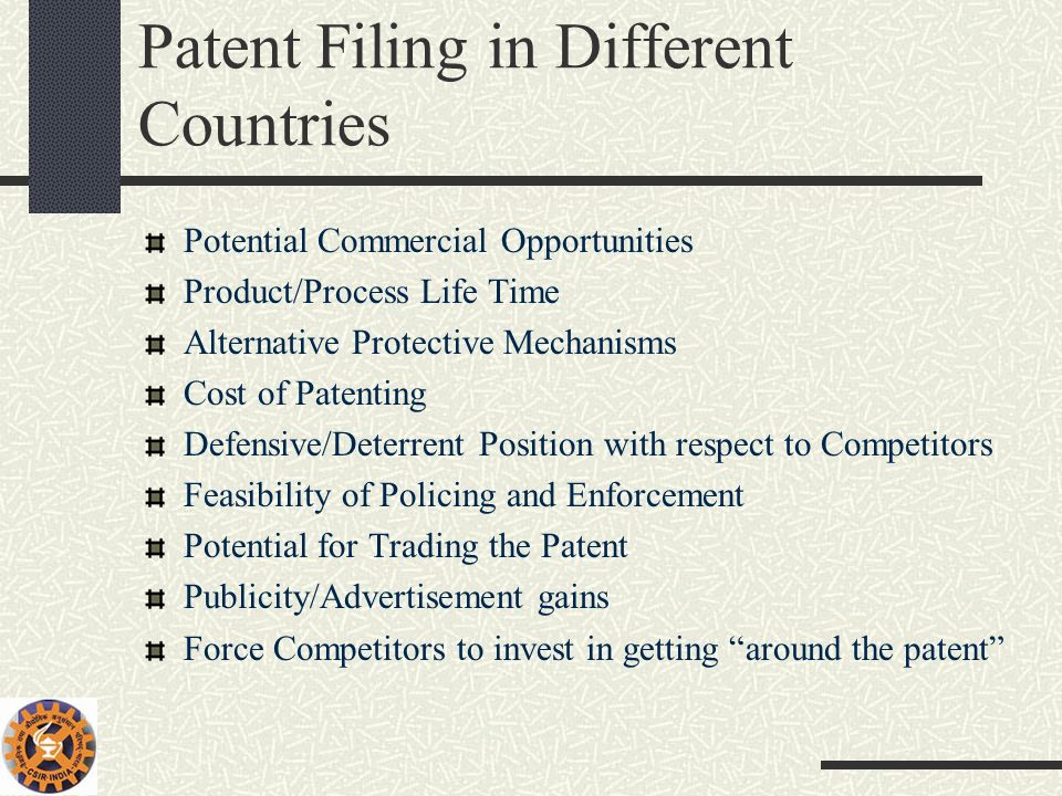 Patent Filing in Different Countries