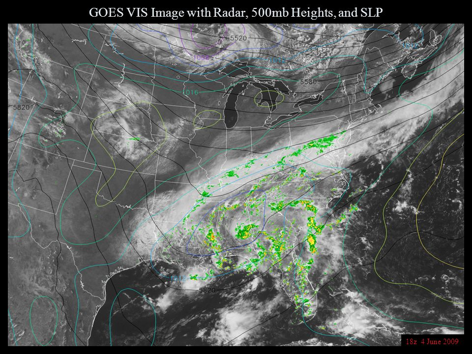 GOES VIS Image with Radar, 500mb Heights, and SLP