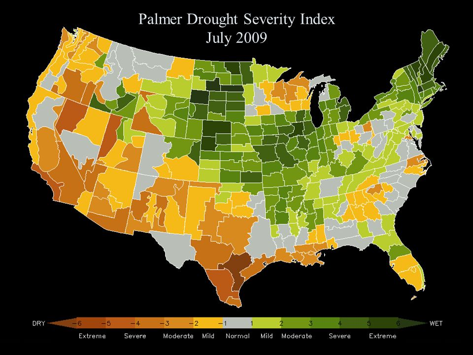 Palmer Drought Severity Index July 2009