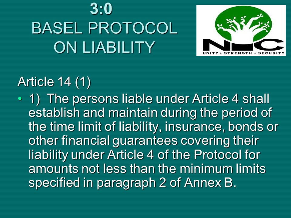 3:0 BASEL PROTOCOL ON LIABILITY