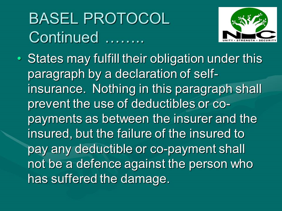 BASEL PROTOCOL Continued ……..