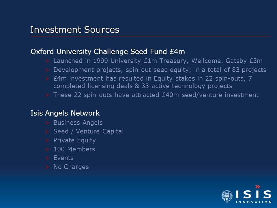 Investment Sources Oxford University Challenge Seed Fund £4m
