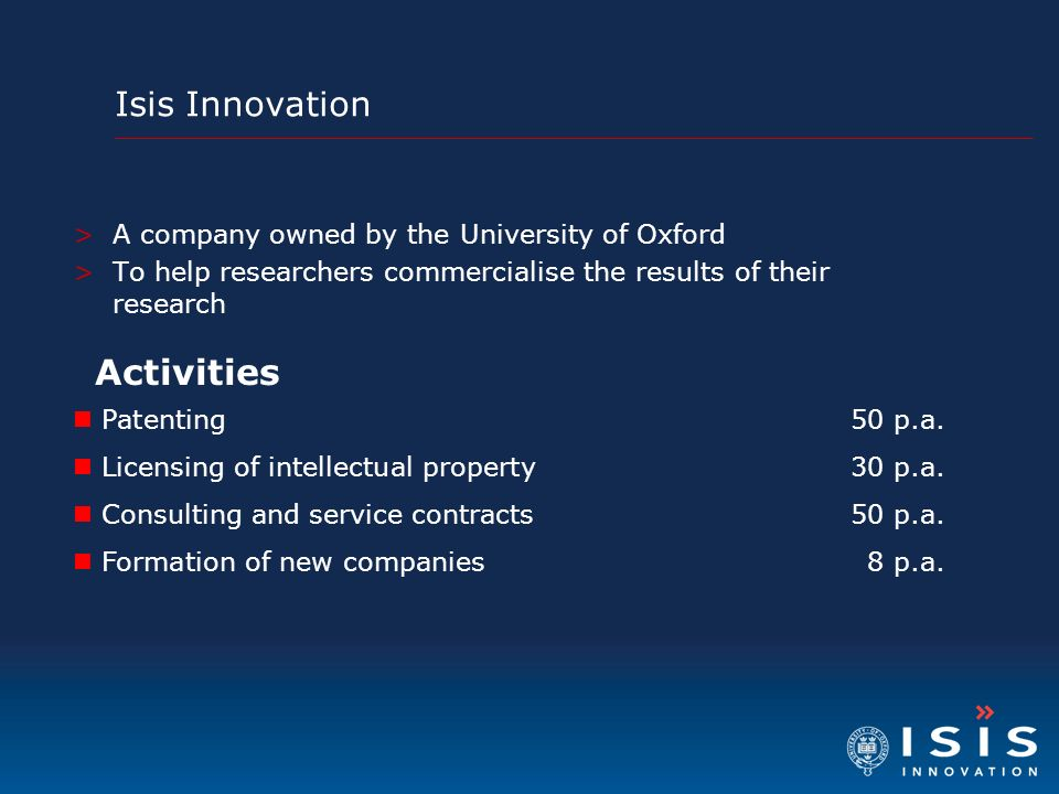 Activities Isis Innovation A company owned by the University of Oxford