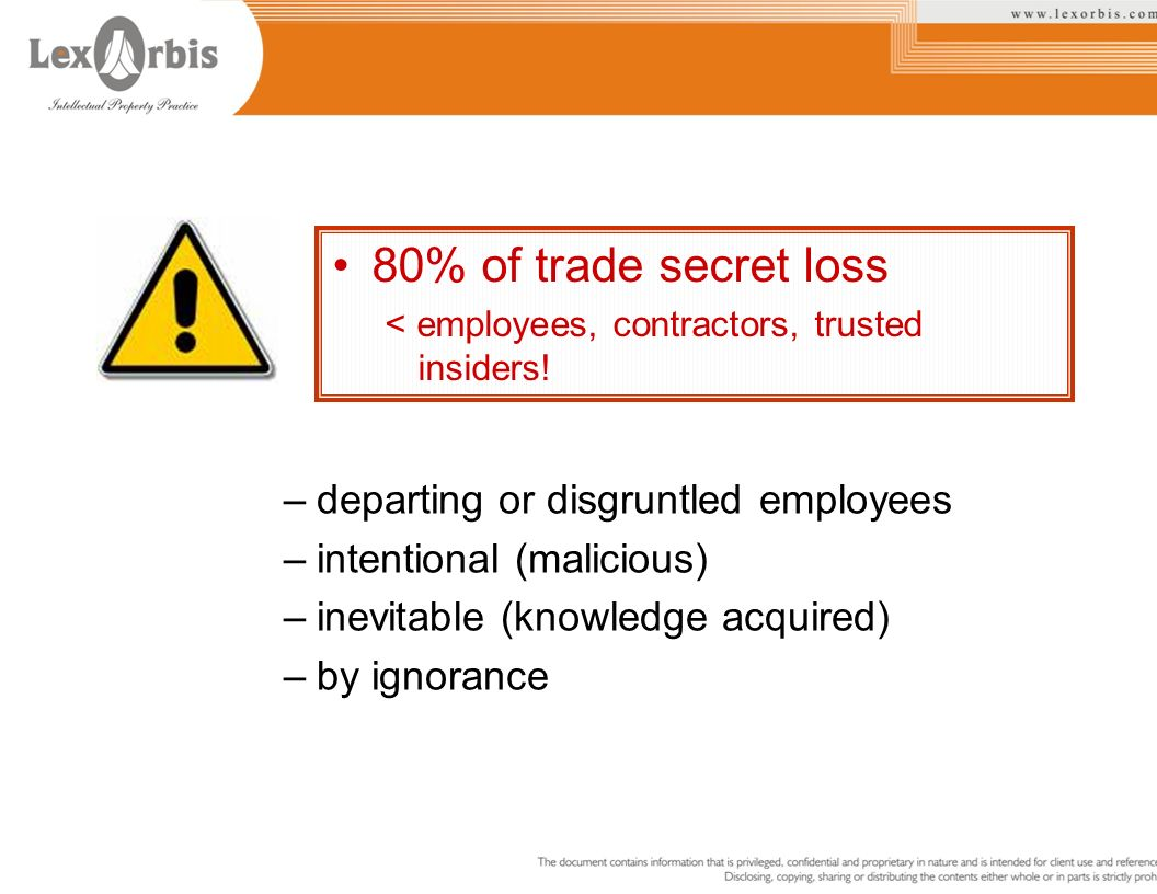 80% of trade secret loss departing or disgruntled employees