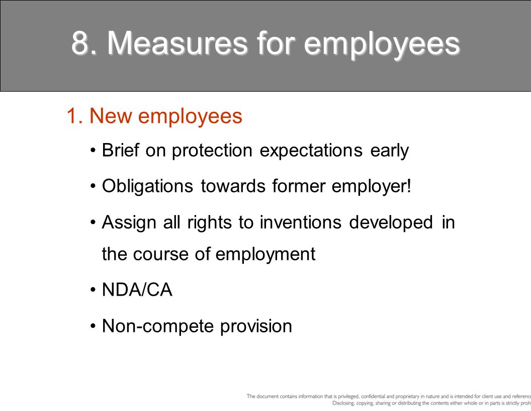 8. Measures for employees