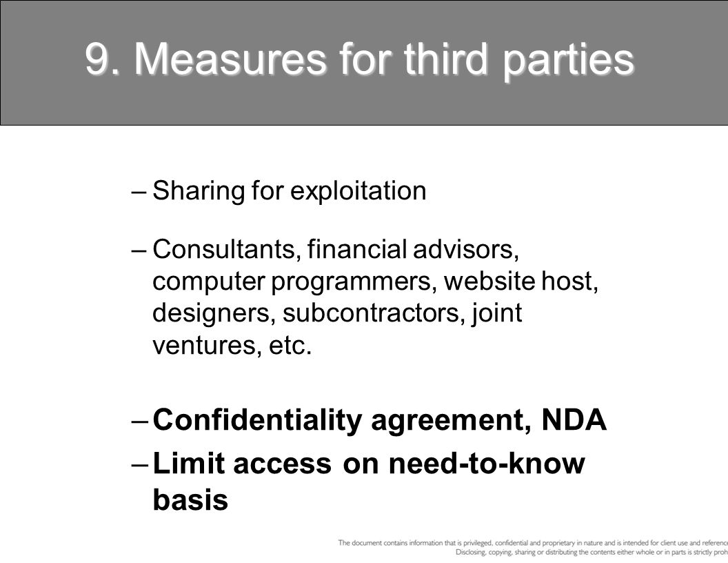 9. Measures for third parties