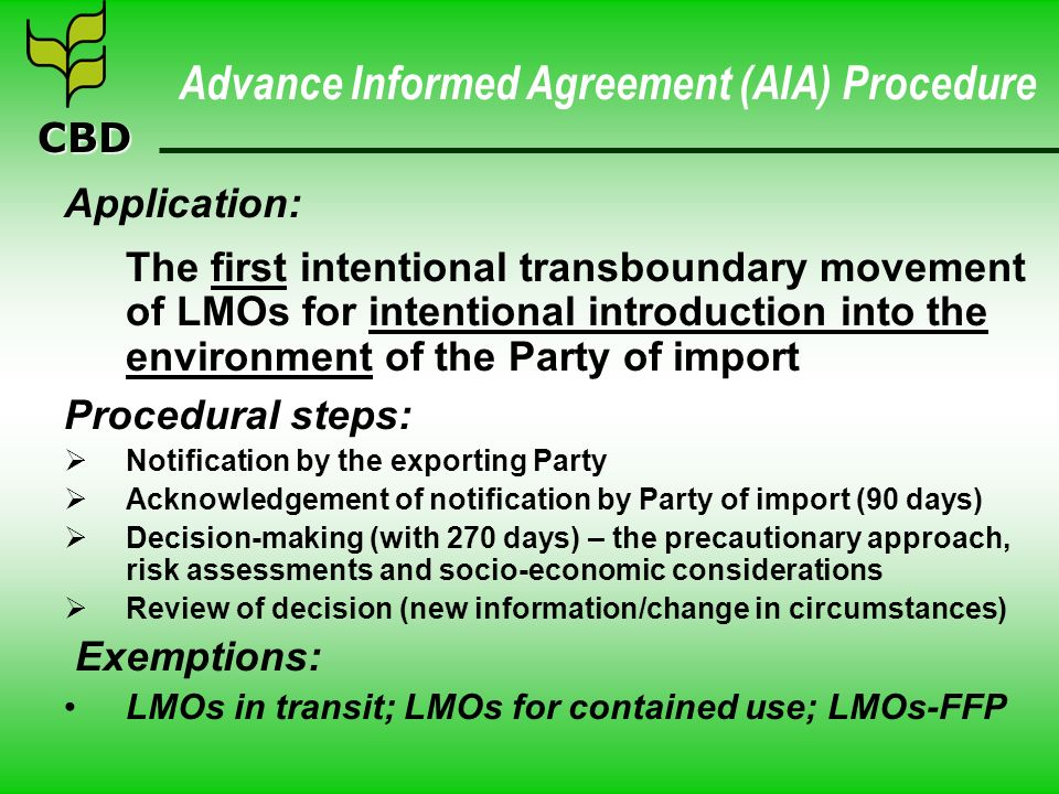 Advance Informed Agreement (AIA) Procedure