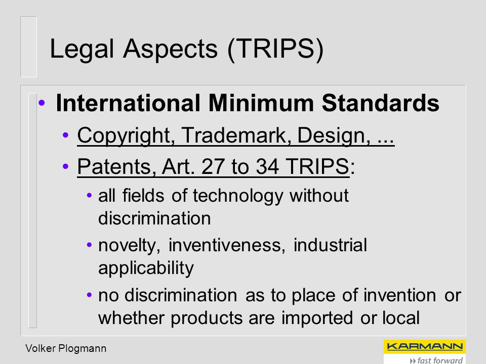Legal Aspects (TRIPS) International Minimum Standards