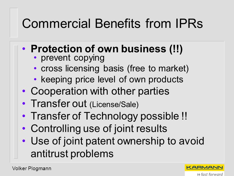 Commercial Benefits from IPRs