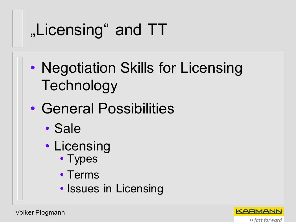 """Licensing and TT Negotiation Skills for Licensing Technology"