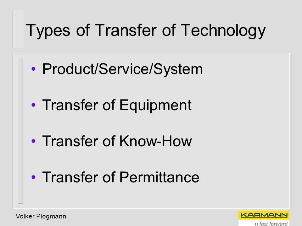 Types of Transfer of Technology