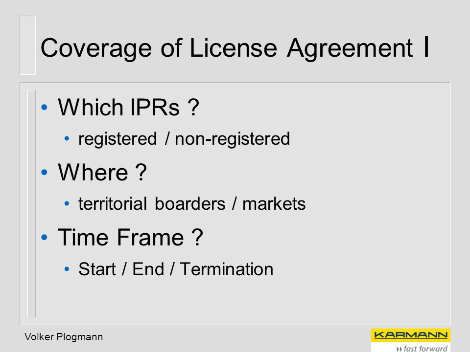 Coverage of License Agreement I