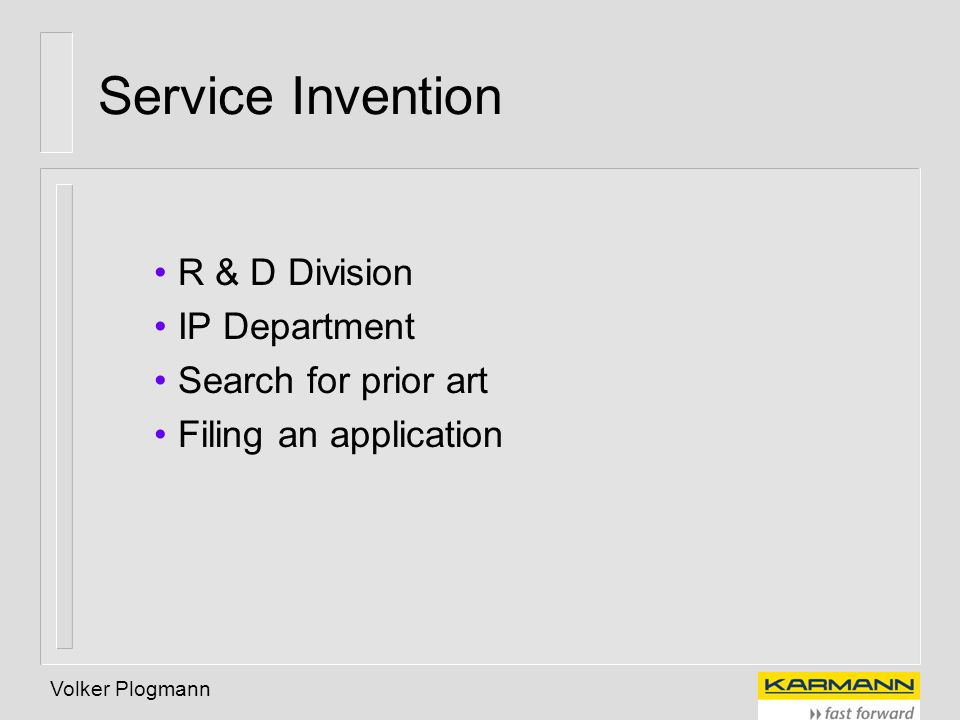 Service Invention R & D Division IP Department Search for prior art