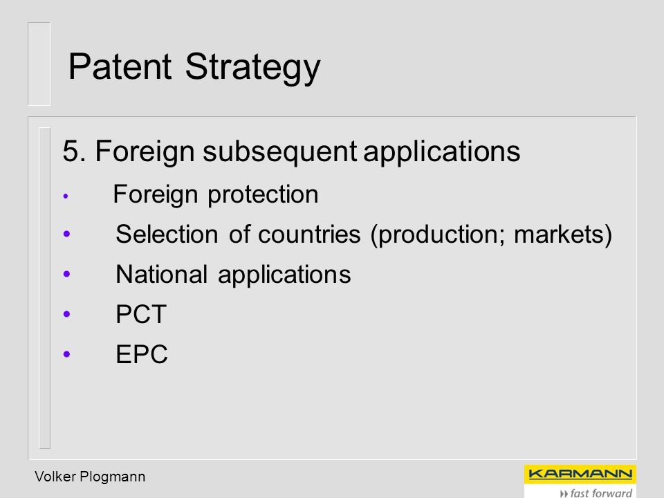 Patent Strategy 5. Foreign subsequent applications
