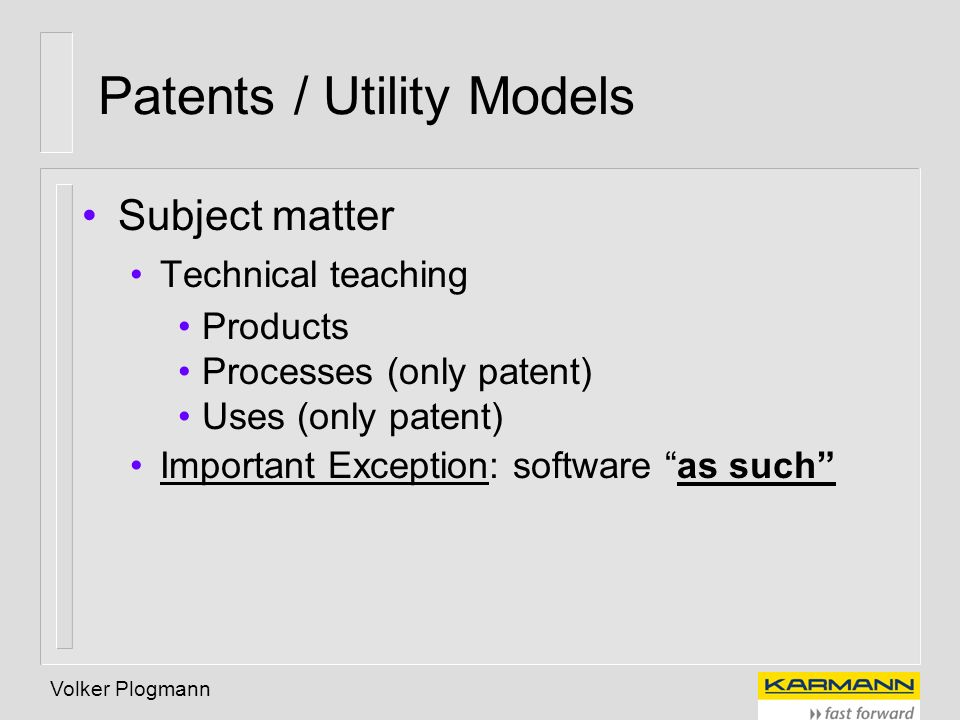 Patents / Utility Models