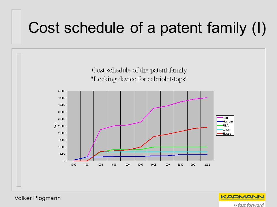 Cost schedule of a patent family (I)