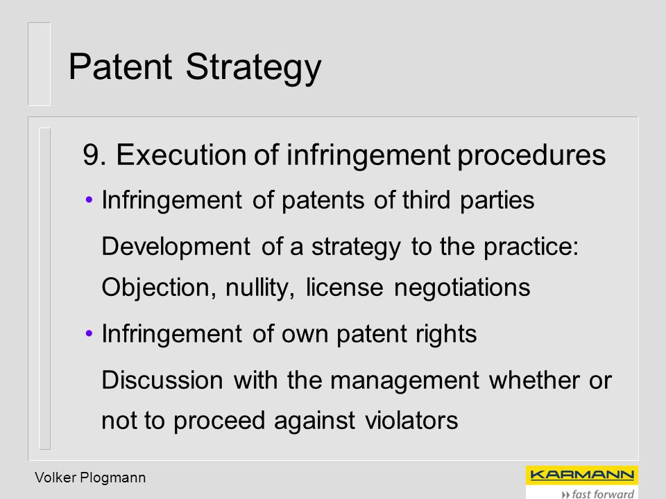 Patent Strategy 9. Execution of infringement procedures