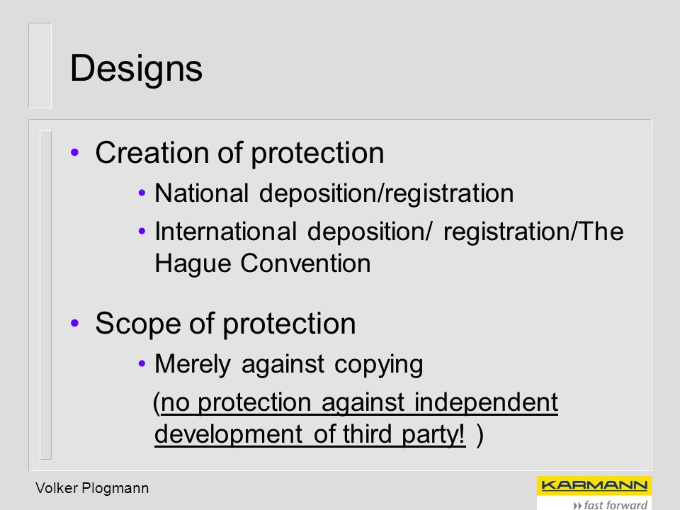 Designs Creation of protection Scope of protection