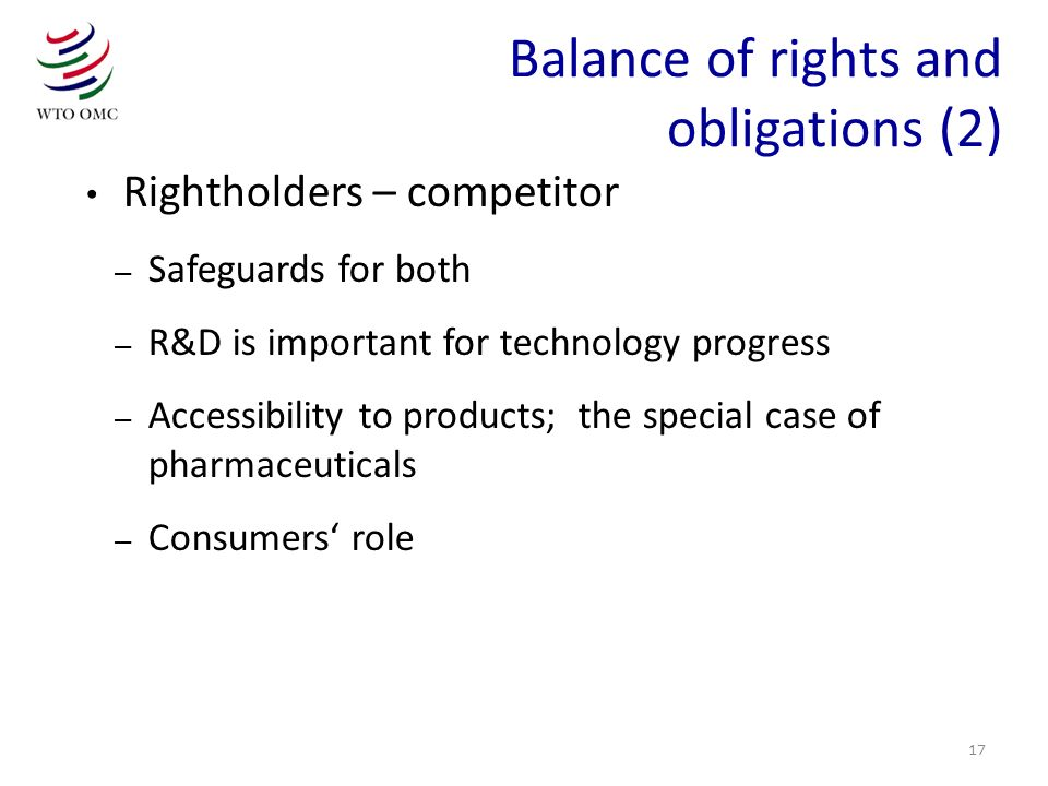 Balance of rights and obligations (2)