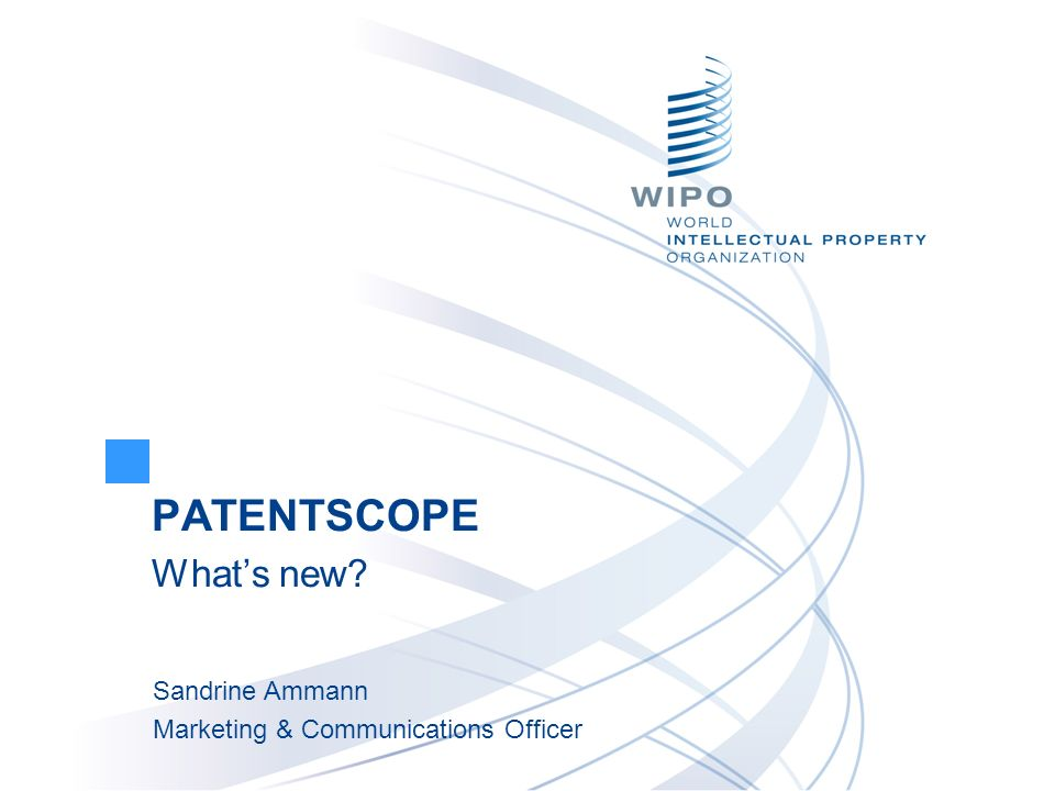 PATENTSCOPE What's new