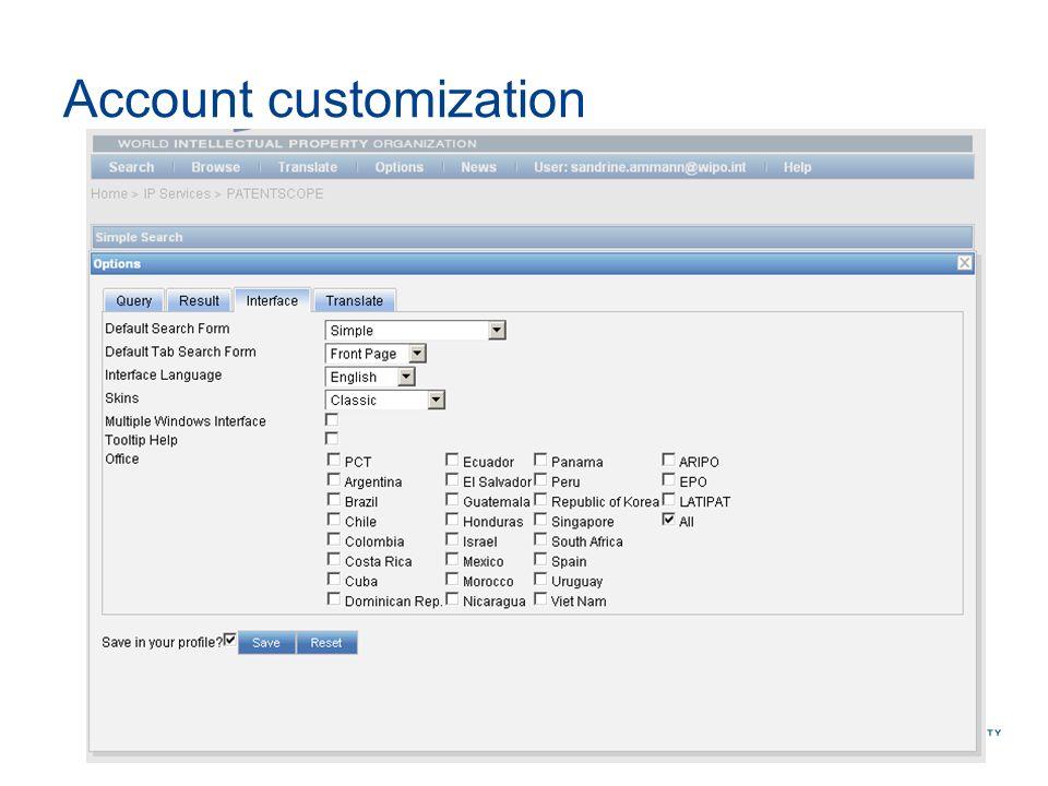 Account customization