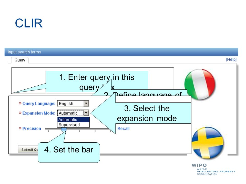 CLIR 1. Enter query in this query box 2. Define language of query