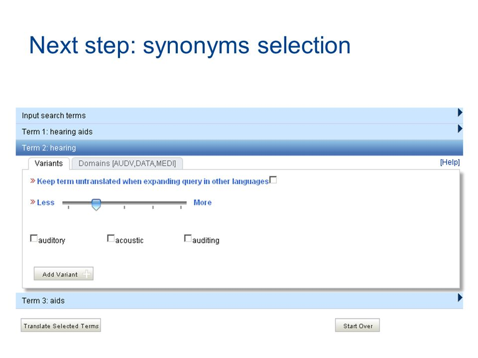 Next step: synonyms selection