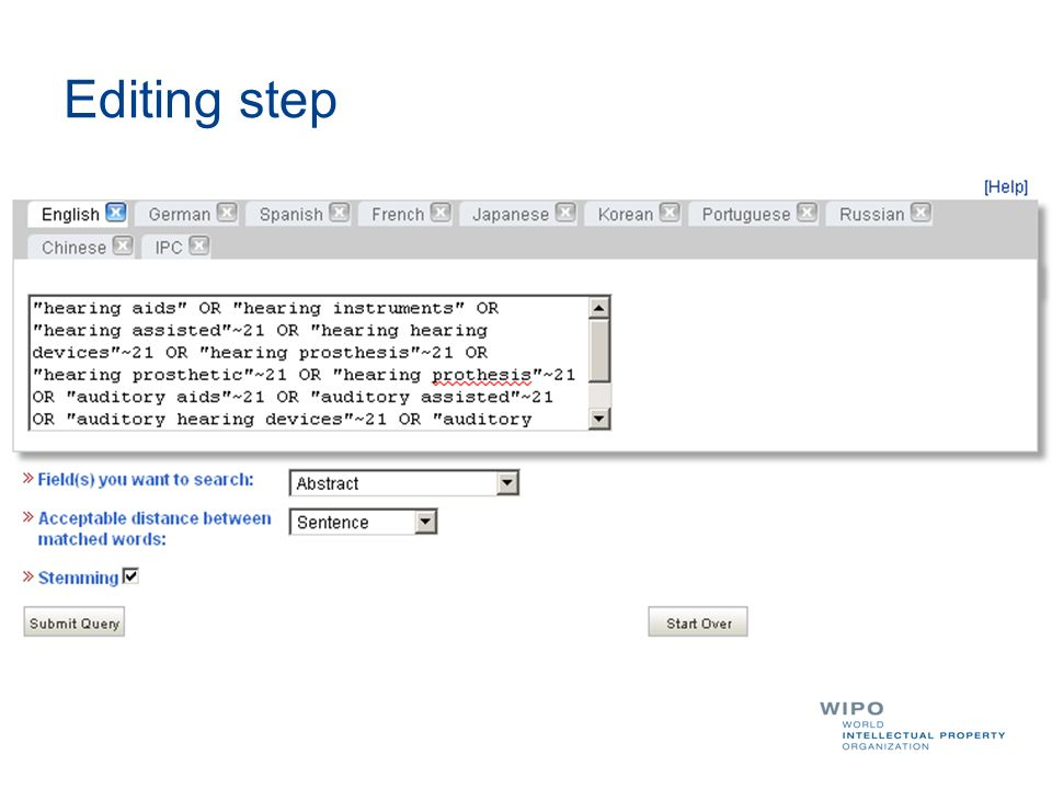 Editing step