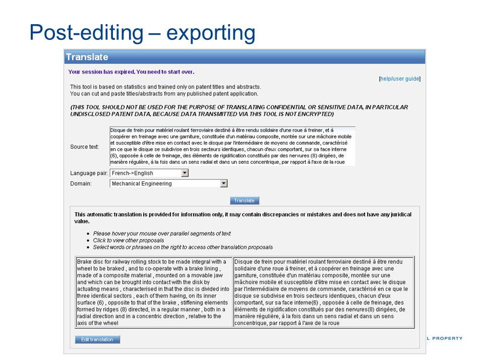 Post-editing – exporting