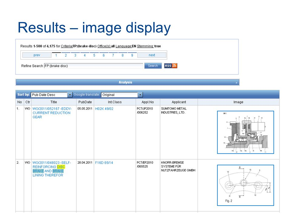 Results – image display