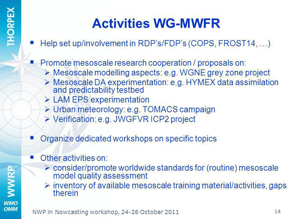 Activities WG-MWFR Help set up/involvement in RDP's/FDP's (COPS, FROST14, …) Promote mesoscale research cooperation / proposals on: