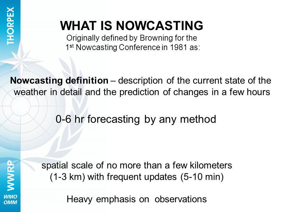 WHAT IS NOWCASTING 0-6 hr forecasting by any method
