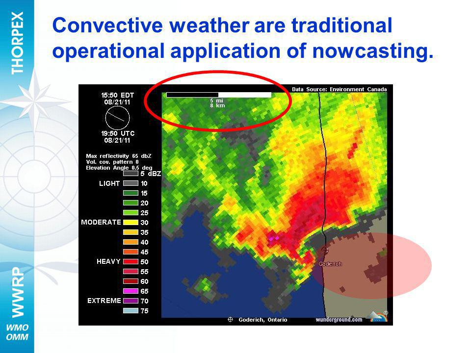 Convective weather are traditional operational application of nowcasting.