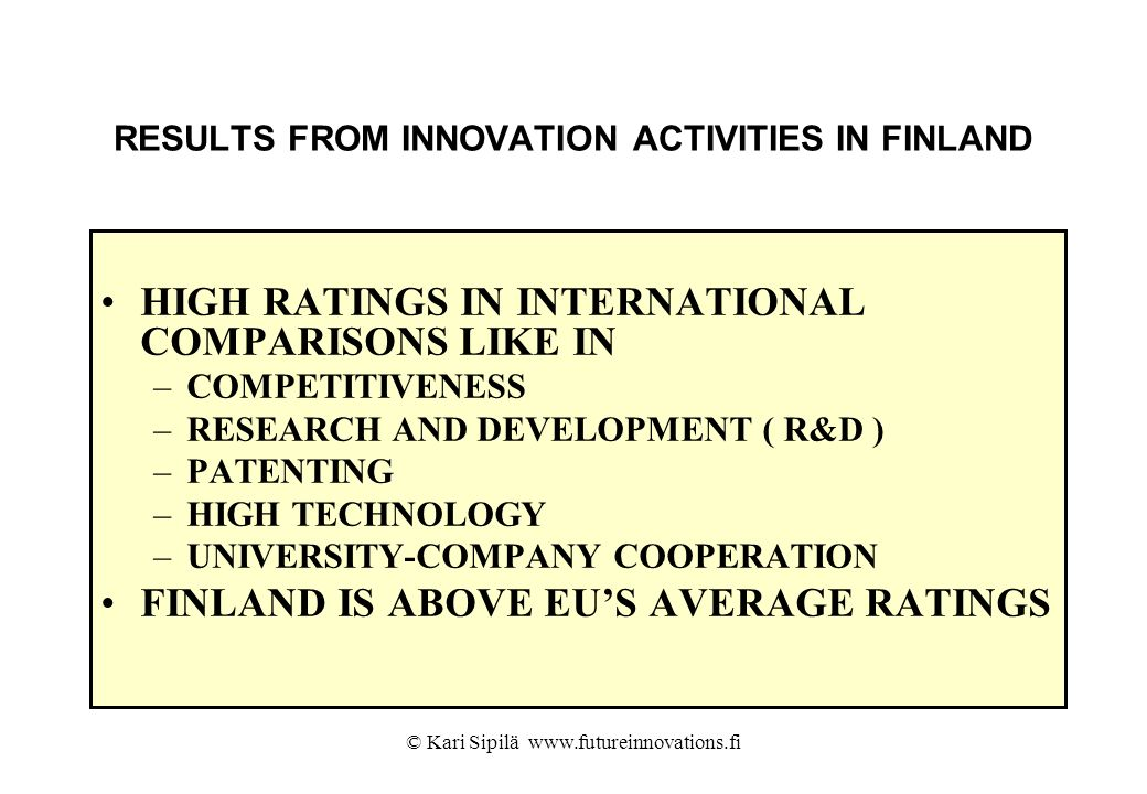 RESULTS FROM INNOVATION ACTIVITIES IN FINLAND