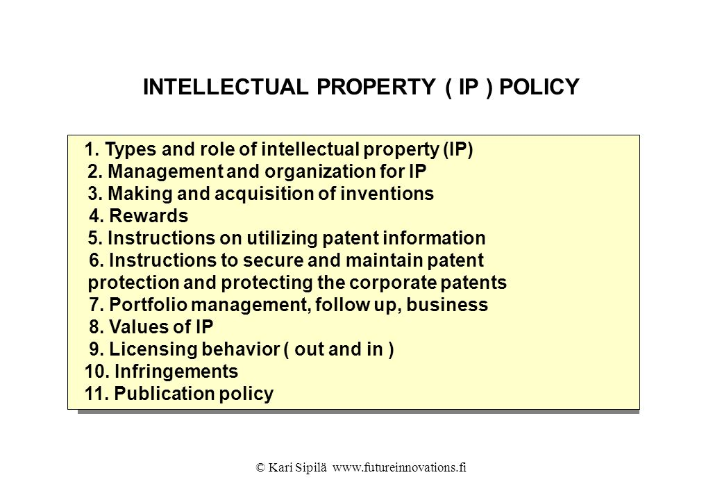 INTELLECTUAL PROPERTY ( IP ) POLICY