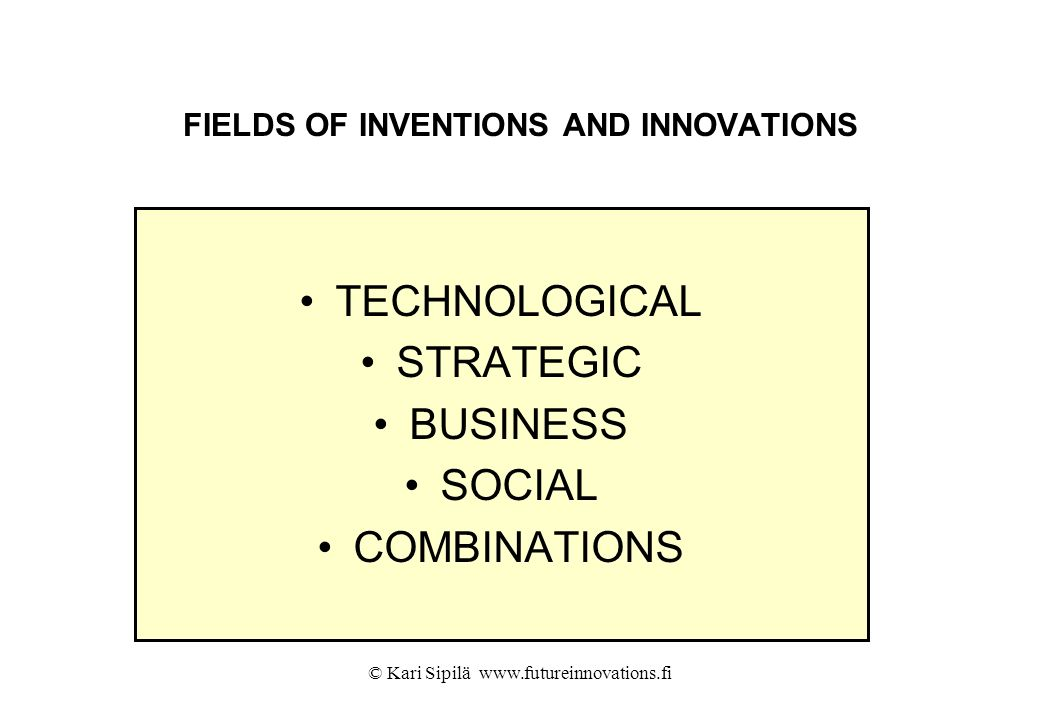FIELDS OF INVENTIONS AND INNOVATIONS