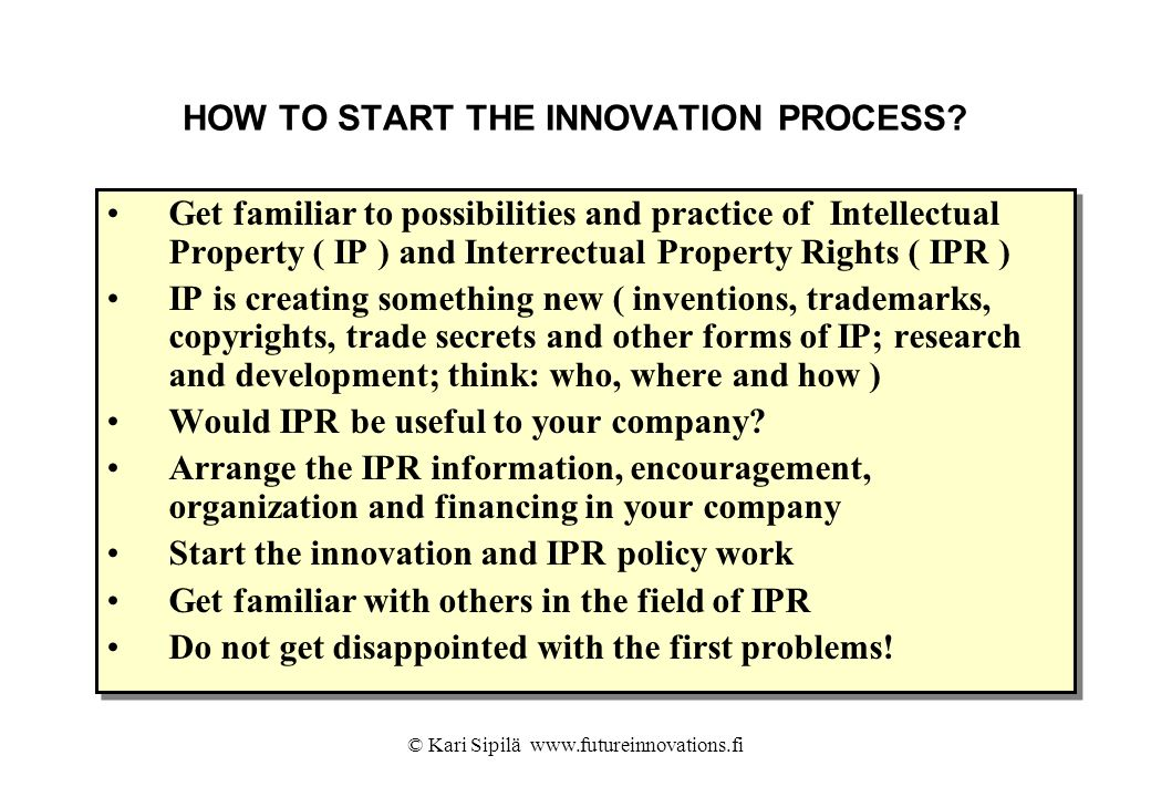 HOW TO START THE INNOVATION PROCESS
