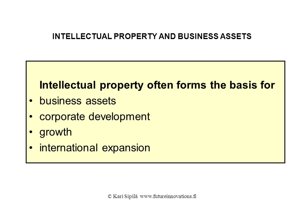 INTELLECTUAL PROPERTY AND BUSINESS ASSETS