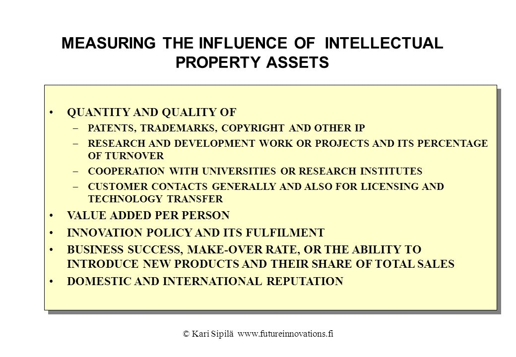 MEASURING THE INFLUENCE OF INTELLECTUAL PROPERTY ASSETS