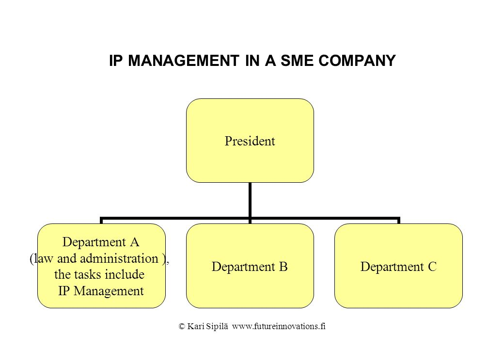 IP MANAGEMENT IN A SME COMPANY