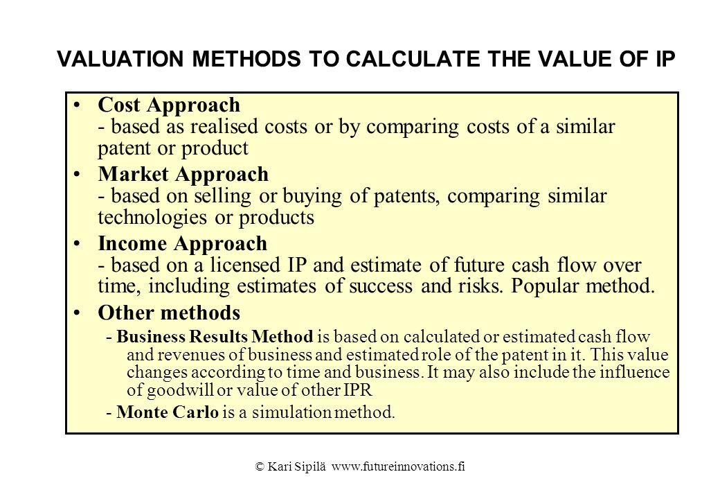 VALUATION METHODS TO CALCULATE THE VALUE OF IP