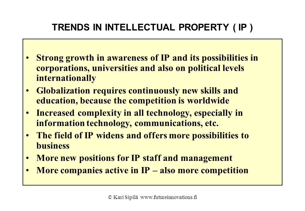 TRENDS IN INTELLECTUAL PROPERTY ( IP )