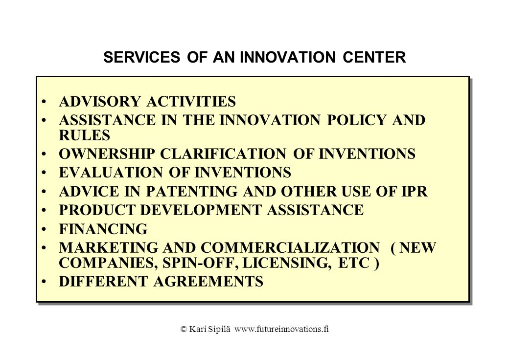 SERVICES OF AN INNOVATION CENTER