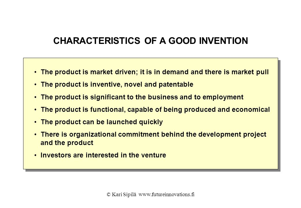 CHARACTERISTICS OF A GOOD INVENTION