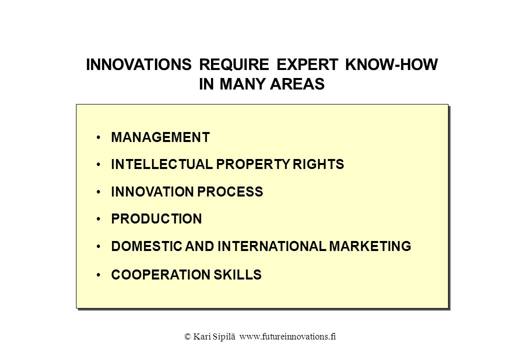 INNOVATIONS REQUIRE EXPERT KNOW-HOW