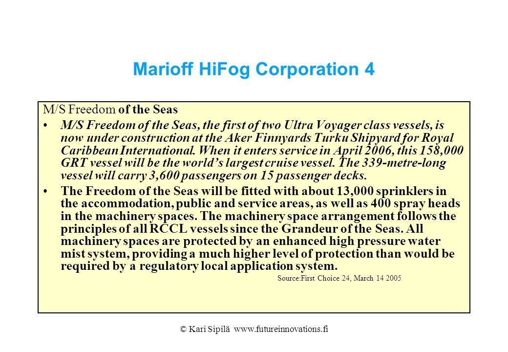 Marioff HiFog Corporation 4